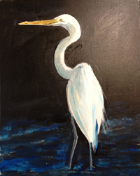 Painting of White Heron